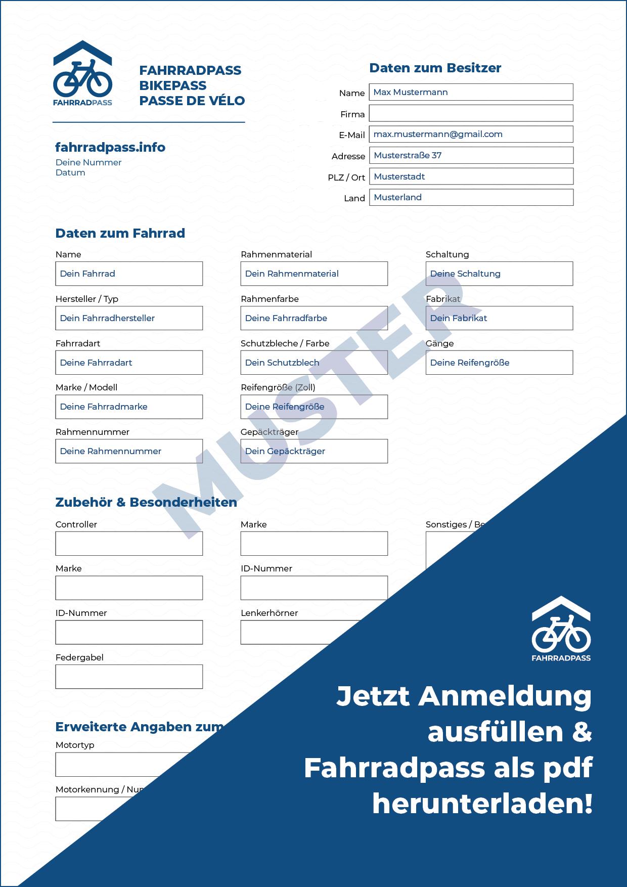 Fahrradpass Muster PDF ▷ Registrierung für neue ✚ gebrauchte Fahrräder ➥ Fahrradpass erstellen ✚ Fahrradprofil freischalten ➤ Dein Fahrradausweis ✓